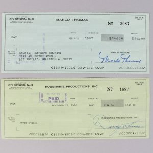 Actors - Danny & Marlo Thomas Signed Personal Checks - COA JSA