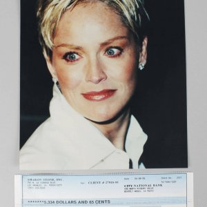 Basic Instinct - Sharon Stone Signed Check & 8x10 Photo (Unsigned) -COA JSA