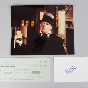 W.C. Fields and Me- Rod Steiger Signed Check, Cut & Unsigned Photo- COA JSA