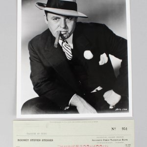 1959 Al Capone - Rod Steiger Signed Check & 8x10 Photo (Unsigned) - COA JSA