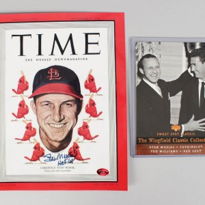"""Stan Musial St. Louis Cardinals Signed & Inscr. """"HOF 69"""" TIME Magazine Cover & UD Card COA Player Holo"""
