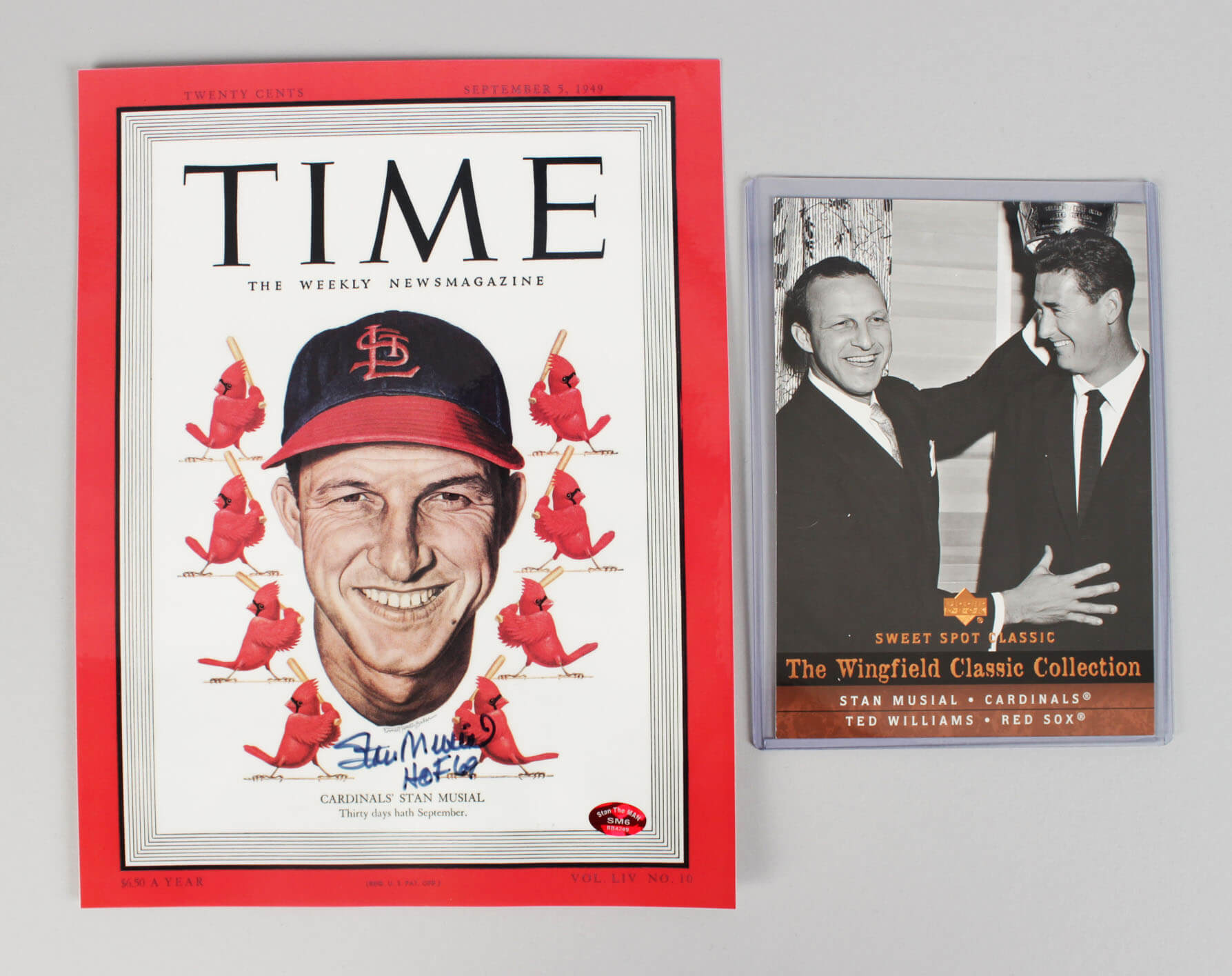 Stan Musial Cardinals Signed Magazine Cover & Card - COA