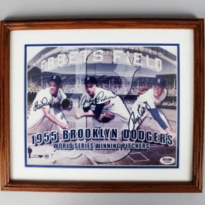 1955 Brooklyn Dodgers - Clem Labine, Johnny Podres & Roger Craig Signed Ebbets Field 8x10 Photo - PSA/DNA