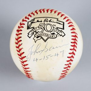 "Boston Braves - Johnny Sain Signed & Dated ""4-15-47"" (First Pitch to Jackie Robinson) ONL Baseball - JSA"