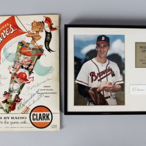 1958 Milwaukee Braves Signed Score Card (8 Sigs.) & Warren Spahn 8x10 Display - JSA