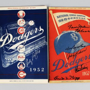 1952 & 1957 Brooklyn Dodgers Signed Programs & Score Cards (7) - Andy Pafko, Ed Roebuck etc. - JSA