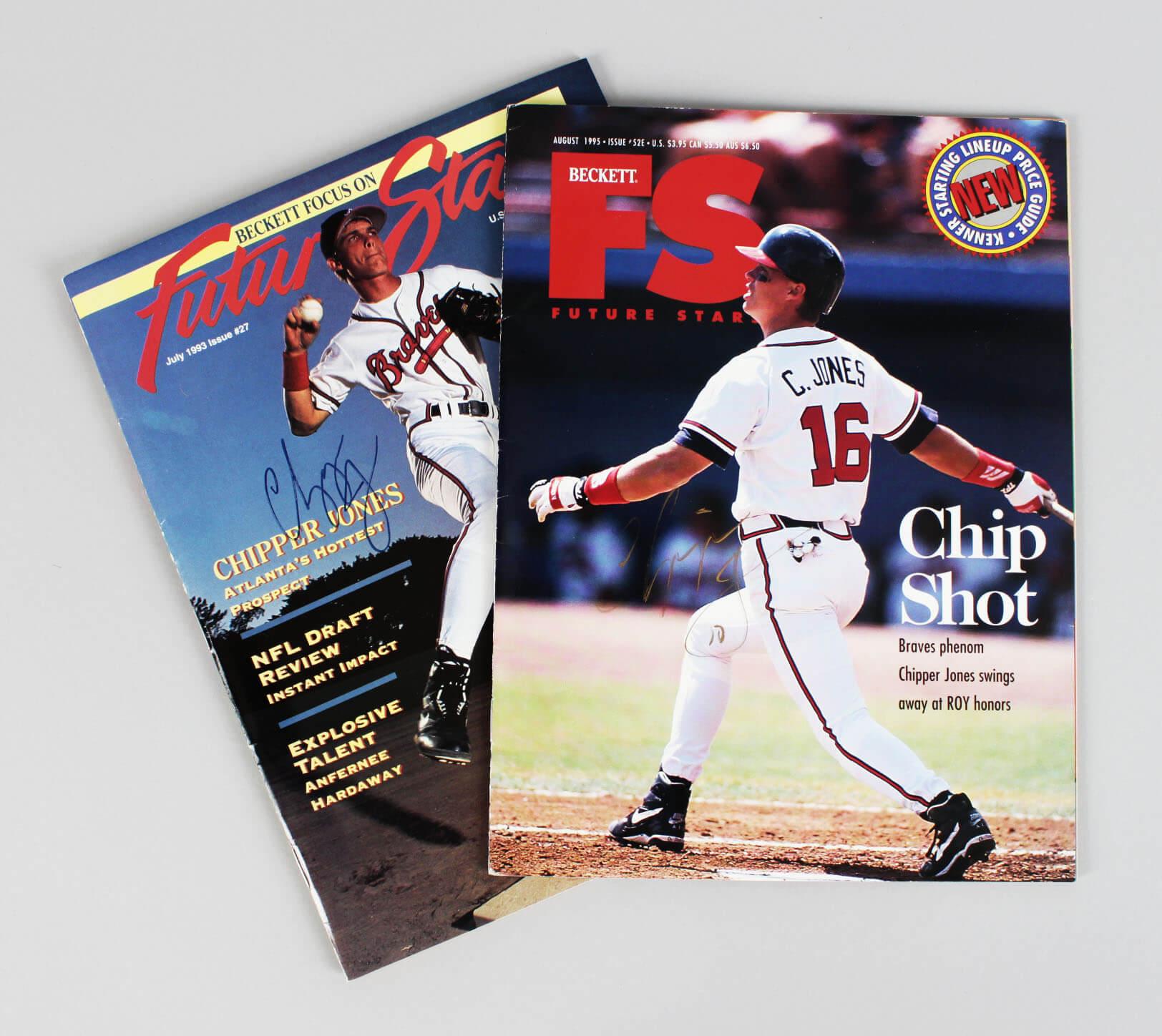 Chipper Jones Signed Magazines Braves - COA JSA