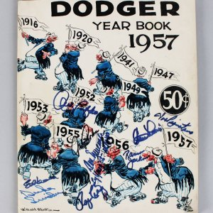 1957 Dodger Year Book Signed (9) - Andy Pafko, Duke Snider, Johnny Podres etc. - JSA