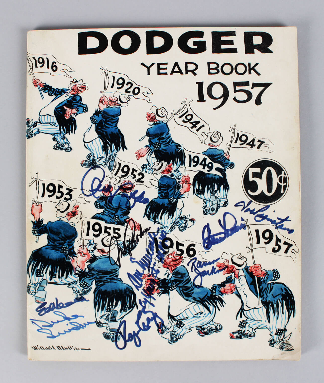 1957 Brooklyn Dodgers Signed Year Book (9) Duke Snider, etc.  - COA JSA