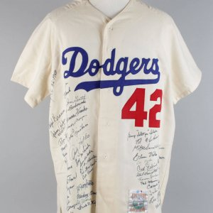 Brooklyn Dodgers Team Signed Mitchell & Ness Jackie Robinson Jersey (51 Sigs) - JSA