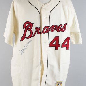 Hank Aaron Signed Milwaukee Braves Cooperstown Collection Mitchell & Ness Jersey - JSA Full LOA