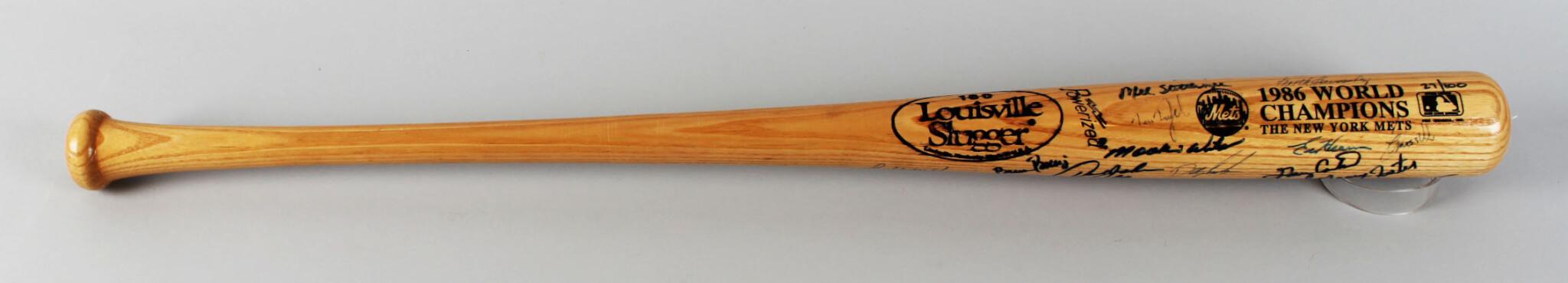 1986 Team-Signed Bat Mets (18) - JSA