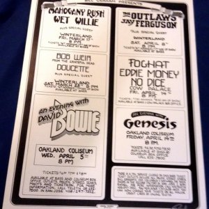 Bill Graham Presents Concert Series 1978,David Bowie, Foghat, Signed Randy Tuten