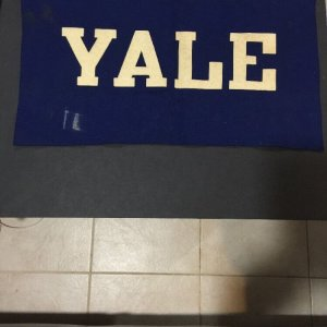 "VINTAGE 1930 Era YALE UNIVERSITY BANNER 14"" X 26"" BLUE WOOL FELT"