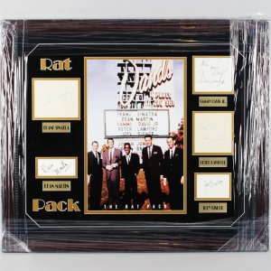 Entire Rat Pack Signed Cuts 25x29 Photo Display w/ Sinatra, Bishop, Lawford, Davis- COA JSA