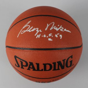 "George Mikan Minneapolis Lakers  Signed & Inscribed ""H.O.F. 59"" Official NBA Basketball - COA PSA/DNA"