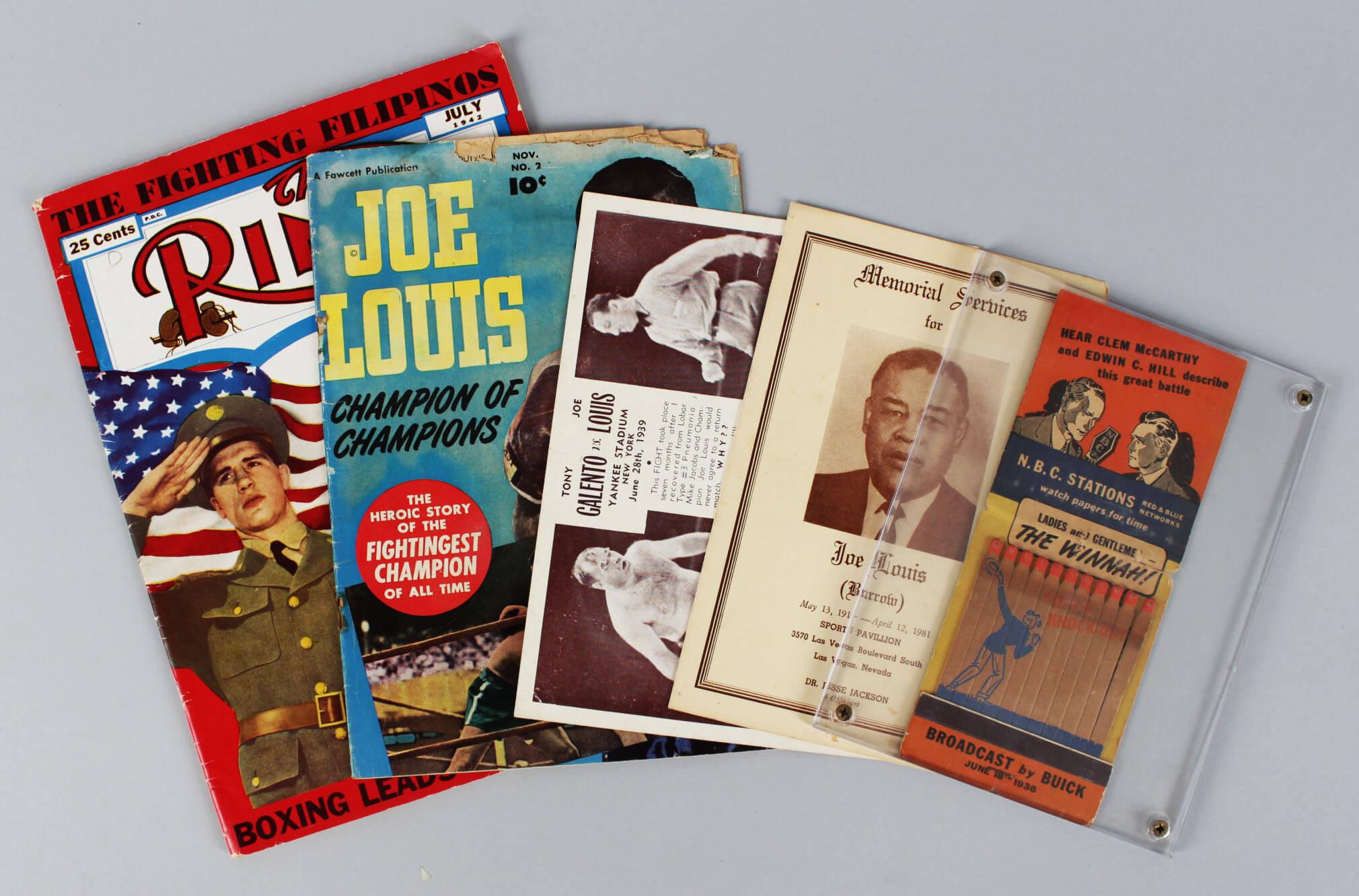 Boxing Legend Joe Louis Lot - (2) Magazines, Post Card, Memorial Service Program & 1936 Biggest Match Book