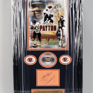 Chicago Bears- Walter Payton Signed - SB XX Champion14x22 Ring Display - COA JSA