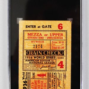 1936 World Series N.Y. Yankees vs. Giants (5-4 Yanks w/Gehrig HR) Game 4 Ticket Stub (SCG)