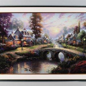 Thomas Kinkade Cobblestone Bridge Art Print Display with COA