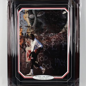Chicago Bulls - Michael Jordan Signed Wheaties 16x23 Poster in Display (Pers.) (JSA Full LOA)