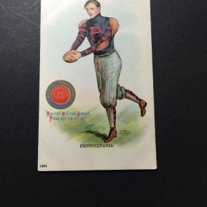 1905 ULLMAN MFG CO NY. POSTCARD FOOTBALL PLAYER UNIVERSITY of PENNSYLVANIA #1467