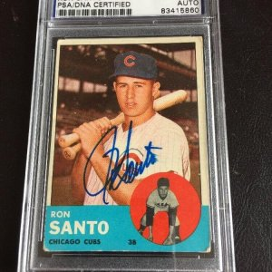 1963 Topps #252 Ron Santo PSA HOF Autographed Baseball Card Chicago Cubs Signed