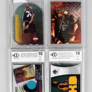 Tim Duncan, Allen Iverson, Kevin Durant & Chris Paul Quad Basketball Rookie Graded Card Lot