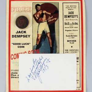 Boxing - Jack Dempsey Signed & Inscribed 4x6 Vintage Album Cut - COA JSA