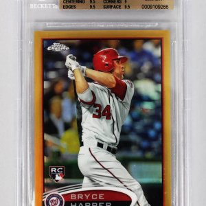 2012 Topps Chrome - Nationals - Bryce Harper Gold Refractor 26/50 Rookie Baseball Card (#196 - Graded BGS 9.5)