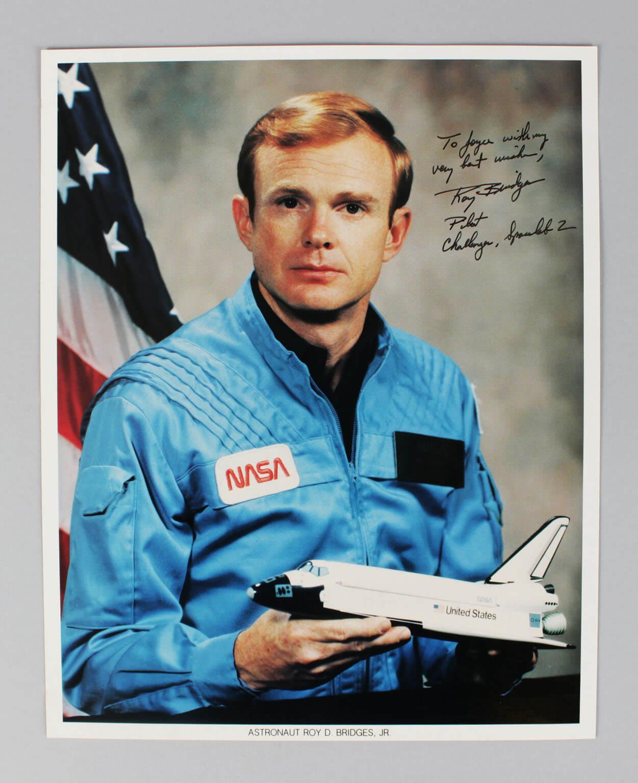 Astronaut - Roy Bridges Signed & Inscribed 8x10 Photo - COA (Holo7485)