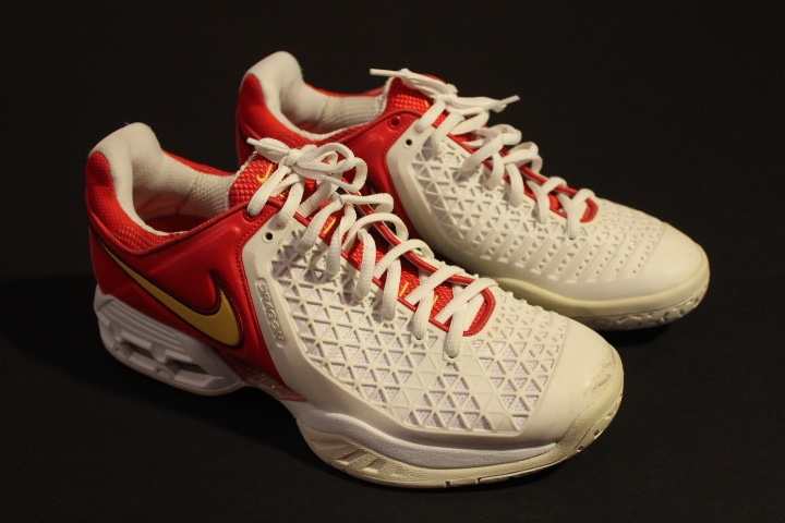 A Pair of Rafael Nadal Game-Used Custom Nike Tennis Shoes. 2008 Beijing  Olympic