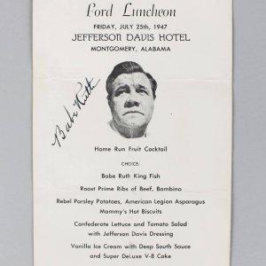 July 25, 1947 Babe Ruth New York Yankees Signed Dinner Menu Program - JSA Full LOA