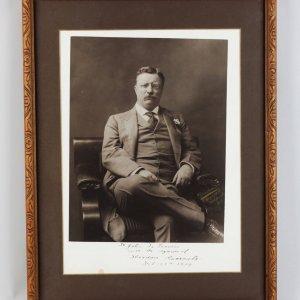 Feb. 25, 1909- Theodore Roosevelt Signed Sepia Photo 17x22 Display - JSA Full LOA
