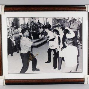 Muhammad Ali Signed 43x52 Photo Display w/ The Beatles - COA
