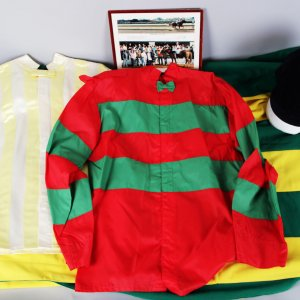 Harvey Vanier Trainer of Thoroughbred Racehorses Silks, Blanket, Hat, Photos etc. - COA