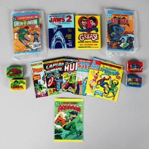 Non-Sports Lot - Jaws & Grease Wax Card Packs, Superhero Mini Comics & Gum