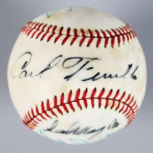 Multi-Signed ONL Baseball - Ripken Jr., Magile, Furillo & Snider - JSA