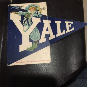 Antique F. Earl Christy YALE College Girl Postcard w/ FOLD OUT PENNANT Yale University