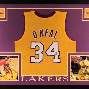 Shaquille O'Neal Signed Lakers 35x43 Custom Framed Jersey
