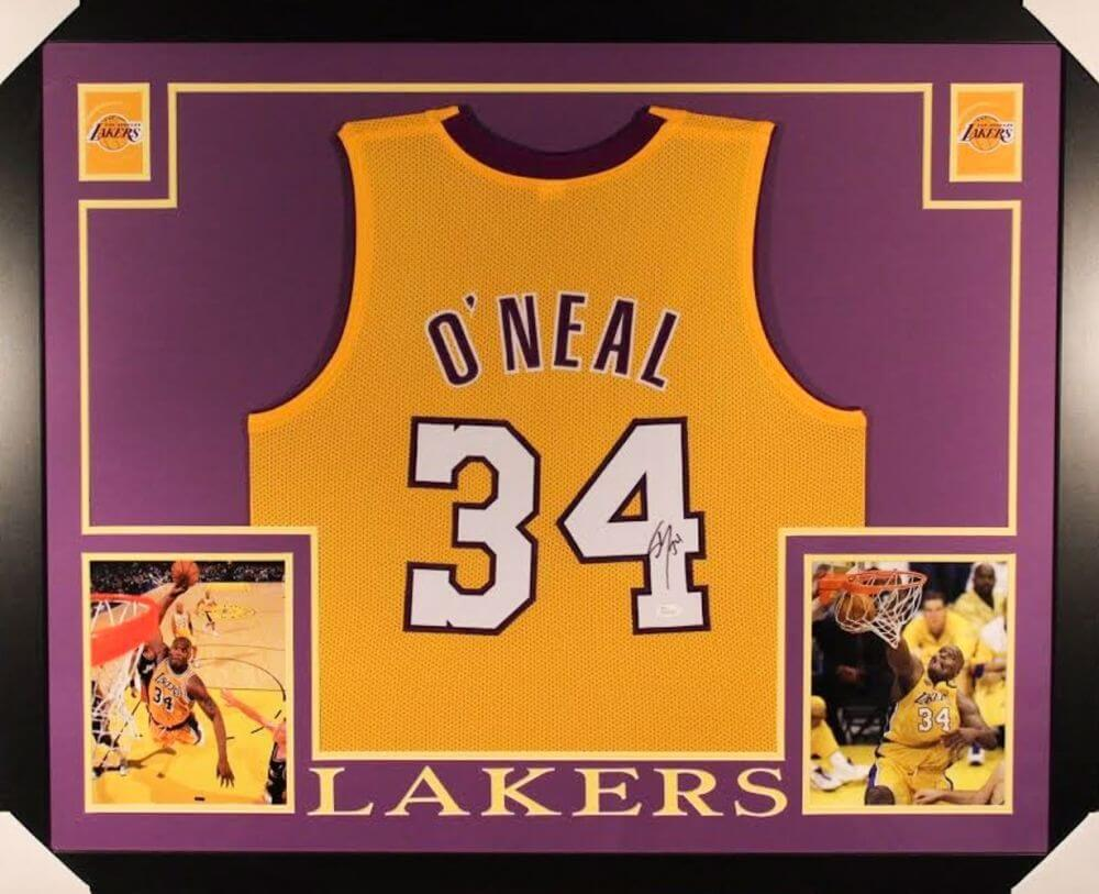 b3139e7bf Shaquille O Neal Signed Lakers 35×43 Custom Framed Jersey ...