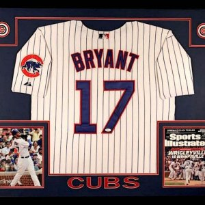 KRIS BRYANT AUTOGRAPHED 35x43 CUSTOM FRAMED / MATTED CHICAGO CUBS JERSEY