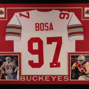 JOEY BOSA AUTOGRAPHED 35X43 CUSTOM FRAMED AND MATTED OHIO STATE JERSEY