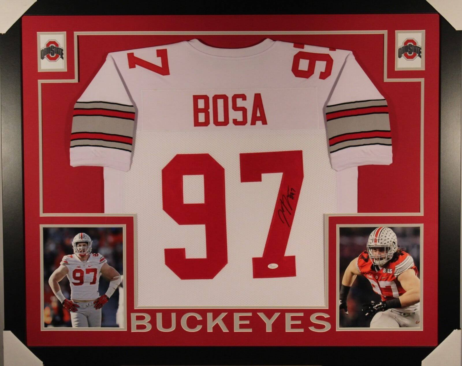 super popular 0f81a 32a63 JOEY BOSA AUTOGRAPHED 35X43 CUSTOM FRAMED AND MATTED OHIO STATE JERSEY