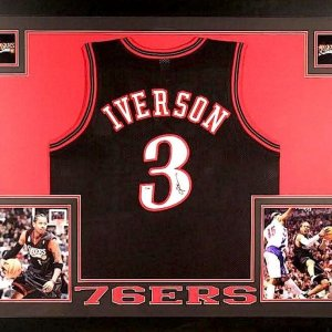 ALLEN IVERSON AUTOGRAPHED 35x43 CUSTOM FRAMED / MATTED PHILADELPHIA 76ERS JERSEY