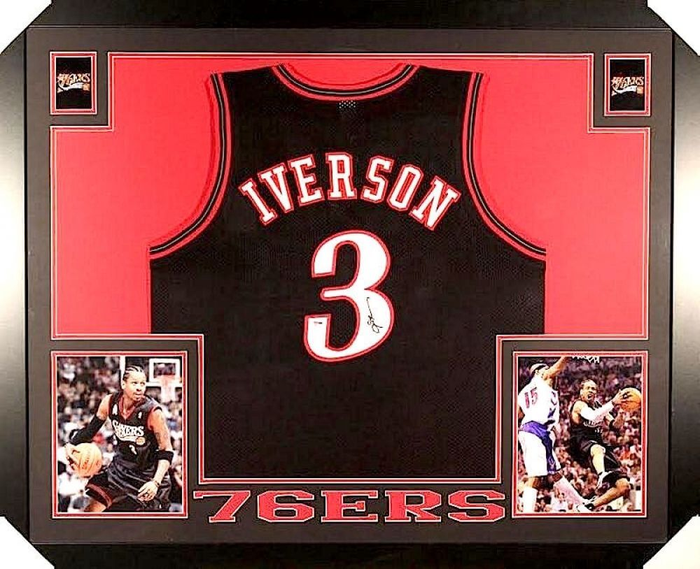 reputable site bdfe0 d9e1c ALLEN IVERSON AUTOGRAPHED 35x43 CUSTOM FRAMED / MATTED PHILADELPHIA 76ERS  JERSEY