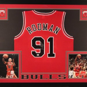 DENNIS RODMAN AUTOGRAPHED 35x43 CUSTOM FRAMED AND MATTED CHICAGO BULLS JERSEY