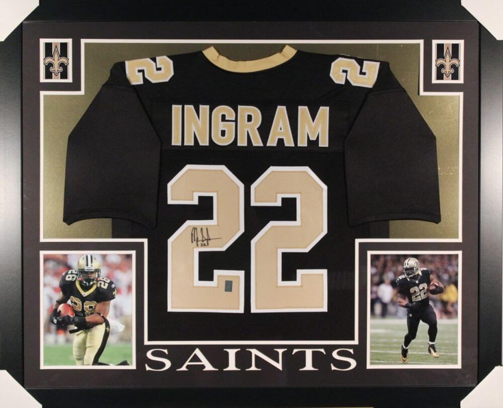 Mark Ingram Autographed Saints 35x43 Custom Framed Jersey (Ingram Hologram)