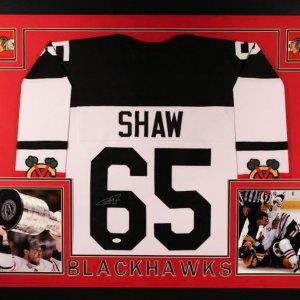 Andrew Shaw Signed Blackhawks 35x43 Custom Framed Jersey (JSA COA)