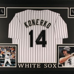 Paul Konerko Signed White Sox 35x43 Custom Framed Jersey (Schwartz COA)